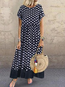 Black-White Polka Dot Draped Two Piece Flowy Big Swing Bohemian Maxi Dress