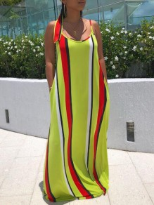 Yellow Striped Pockets Spaghetti Strap Backless Sashes Floor Length Bohemian Maxi Dress