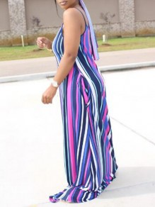 Blue-Purple Striped Pockets Spaghetti Strap Backless Sashes Floor Length Bohemian Maxi Dress
