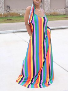 Green Rainbow Striped Pockets Spaghetti Strap Backless Sashes Floor Length Bohemian Maxi Dress