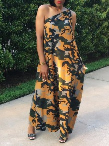 Orange Camouflage Asymmetric Shoulder Pleated Pockets Bohemian Beach Party Maxi Dress