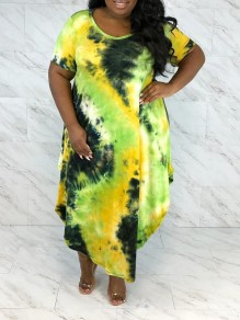 Yellow Tie Dyeing Pleated Irregular Plus Size Bohemian Beach Party Maxi Dress