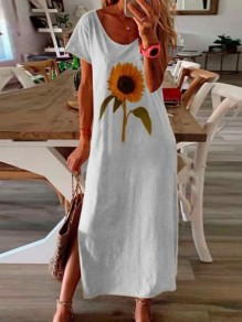 White Sunflower Side Slit Round Neck Short Sleeve Fashion Maxi Dress