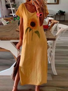 Yellow Sunflower Side Slit Round Neck Short Sleeve Fashion Maxi Dress