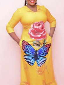 Yellow Floral Butterfly Print Pleate Plus Size Party Maxi Dress