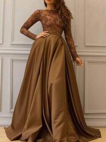 Brown Patchwork Lace Pleated Big Swing Prom Evening Party Maxi Dress