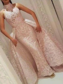 Pink Patchwork Lace Bodycon Mermaid Cloak Prom Evening Party Maxi Dress