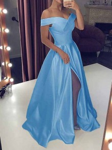 Blue Off Shoulder Pleated Thigh High Side Slits Plus Size Big Swing Wedding Prom Evening Party Maxi Dress