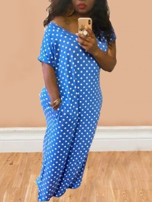 Blue Polka Dot Irregular Pockets High-low Half Sleeve Bohemian Maxi Dress
