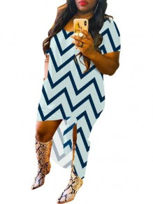 Blue Striped Irregular Pockets High-low Half Sleeve Bohemian Maxi Dress