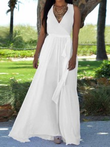 White Pleated Belt V-neck Bohemian Boho Party Maxi Dress