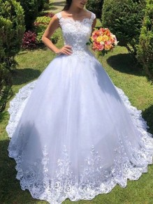 White Patchwork Lace Collarless Sleeveless Wedding Gowns Maxi Dress