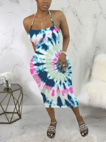 Blue-Pink Tie Dyeing Spaghetti Strap Bodycon Backless Bohemian Beach Party Maxi Dress