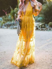 Yellow Patchwork Lace Double Slit Plunging Neckline Beachwear Maxi Dress