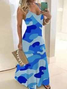Light Blue Camouflage Spaghetti Strap Pleated Bohemian Beach Party Maxi Dress