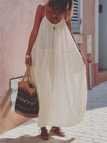 White Patchwork Draped Round Neck Sleeveless Bohemian Maxi Dress