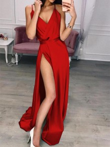 Red Patchwork Draped Side Slit V-neck Sleeveless Party Maxi Dress