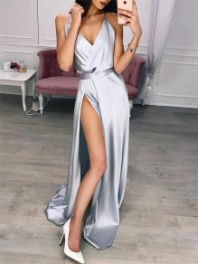Grey Patchwork Draped Side Slit V-neck Sleeveless Party Maxi Dress
