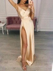 Champagne Patchwork Draped Side Slit V-neck Sleeveless Party Maxi Dress