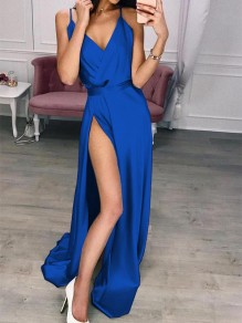 Blue Patchwork Draped Side Slit V-neck Sleeveless Party Maxi Dress