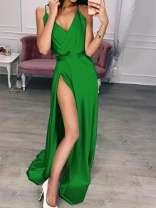 Green Patchwork Draped Side Slit V-neck Sleeveless Party Maxi Dress