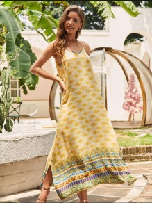 Yellow Floral Pattern Double Slit V-neck Sleeveless Bohemian Maxi Dress