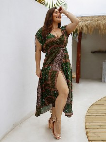 Army Green Floral Print Pleated Plus Size Bohemian Maxi Dress