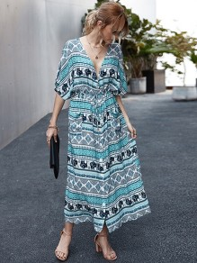 Green Floral Pattern V-neck Short Sleeve Fashion Maxi Dress