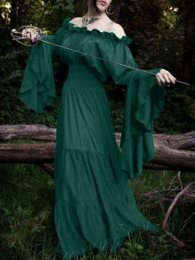 Green Off Shoulder Pleated Bell Sleeve Stevie Nicks Rosatic witch Maxi Dress