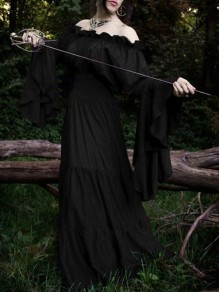 Black Off Shoulder Pleated Bell Sleeve Stevie Nicks Rosatic witch Maxi Dress