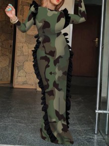 Army Green Camouflage Print Ruffle Floor Length Bodycon Banquet NYE Party Maxi Dress