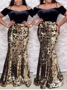 Black Patchwork Sequin Off Shoulder Bodycon Mermaid Sparkly Glitter Birthday Party Maxi Dress