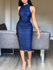 Blue Bright Wire Halter Neck Pleated Bodycon Sparkly Glitter Birthday Party Maxi Dress