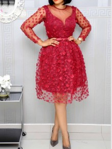 Date Red Patchwork Lace Grenadine Pleated Homecoming Party Maxi Dress