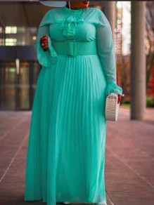 Sky Blue Ruffle Belt Pleated Bell Sleeve Plus Size Elegant Party Maxi Dress
