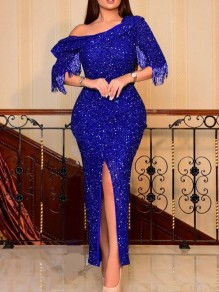 Blue Patchwork Grenadine Sequin Off Shoulder Side Slits Bodycon Sparkly Glitter Birthday Prom Evening Party Maxi Dress
