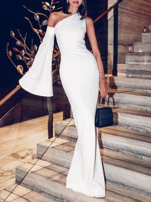 White Asymmetric Shoulder Cut Out Bell Sleeve Bodycon Mermaid Prom Evening Party Maxi Dress