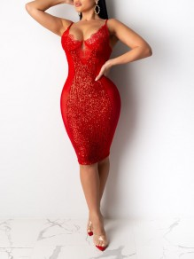 Red Patchwork Lace Sequin Spaghetti Strap Bodycon Sparkly Glitter Birthday Party Maxi Dress