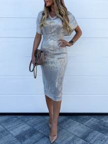 Silver Patchwork Sequin Bodycon Sparkly Glitter Birthday Party Maxi Dress