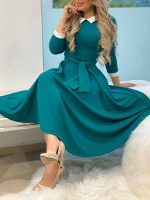 Green Pleated Belt Homecoming Party Maxi Dress