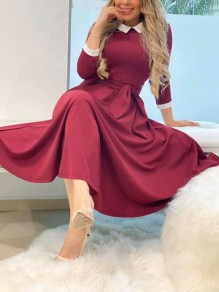 Burgundy Pleated Belt Homecoming Party Maxi Dress