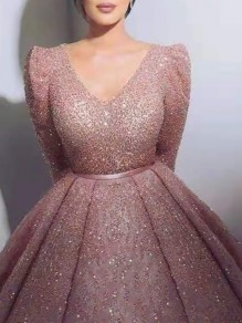 Pink Patchwork Sequin Pleated Big Swing Sparkly Glitter Birthday Prom Evening Party Maxi Dress