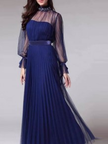 Blue Patchwork Grenadine Pleated Prom Evening Party Maxi Dress