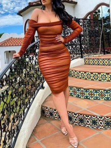 Camel Patchwork Grenadine Off Shoulder Long Sleeve Bodycon Party Maxi Dress