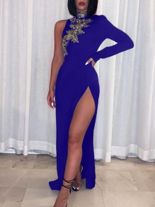 Navy Blue Patchwork Lace Asymmetric Shoulder Bodycon Thigh High Side Slits Prom Evening Party Maxi Dress