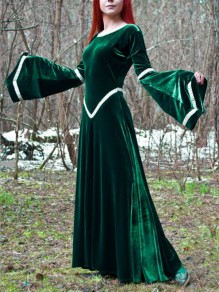 Green Patchwork Pleated Round Neck Flare Sleeve Vintage Maxi Dress
