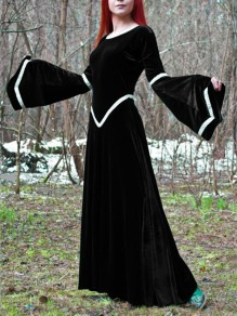 Black Patchwork Pleated Round Neck Flare Sleeve Vintage Maxi Dress