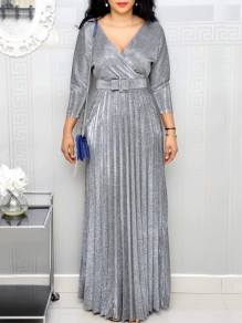 Silver Belt Pleated Sparkly V-neck Plus Size Banquet Maxi Dress