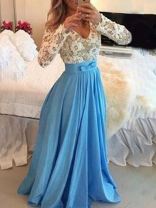 Blue Patchwork Lace Bow Draped Backless V-neck Long Sleeve Elegant Maxi Dresses