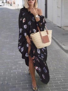 Black Floral Feather Off Shoulder 3/4 Sleeve Fashion Maxi Dress